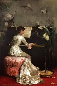 Mulher nova em Piano, 1878 por Julius Leblanc Stewart (1855-1919 ...