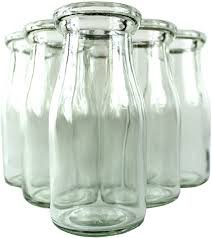 heavy clear glass half pint milk bottle