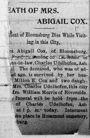 Obituary for ABIGAIL COX - Newspapers.com