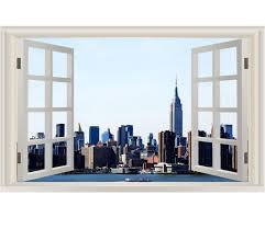 Vwaq Manhattan Window Wall Sticker New York City Skyline Wall Decal Print Nwt9 28 H X 42 W Walmart Com Walmart Com