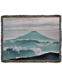 Don't Miss These Deals: ArtVerse Katelyn Smith A View of Mt. Fuji Woven  Blanket - Photo Content Process, 52 x 37, Green