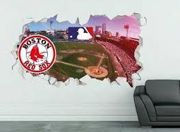 Decals Stickers Vinyl Art Home Garden Boston Red Sox Logo Wall Decal Smashed Mlb Sport 3d Art Sticker Vinyl Js1579 Adrp Fournitures Fr