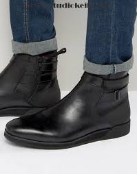 mens black leather shoes boots