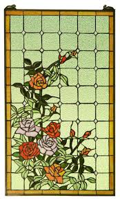 stained glass window panel rose flowers