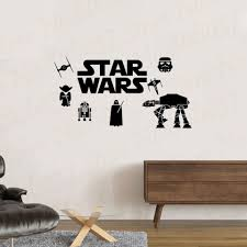 Star Wars Wall Decal Family Yoda Darth Vader Tie Fighter At At Walker X Wing Boys Room Decal Wall Mural We92 Wall Stickers Aliexpress
