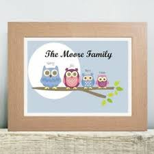 owl family tree print personalised