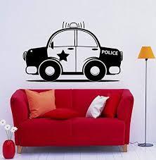 Amazon Com Police Car Wall Decal Vinyl Sticker Art Wall Removable Nursery Kids Room Decor 11nry3 Kitchen Dining