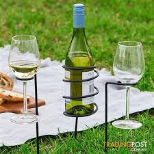 3 piece wine glass holders picnic set