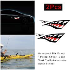 2pcs Waterproof Diy Funny Rowing Kayak Boat Shark Teeth Accessories Mouth Sticker Vinyl De Buy At A Low Prices On Joom E Commerce Platform