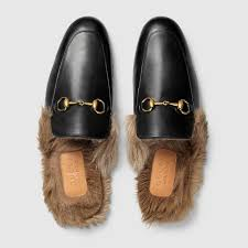 black leather princetown men s slipper