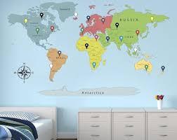 World Map Wall Art Map Decal Detailed World Map Travel Map Map Etsy In 2020 Map Wall Art World Map Wall Art Map Art