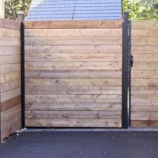 Horizontal Fence Section With Gate Horizontal Fence Modern Fence Fence Decor