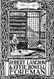 Bookplate depicting interior library scene and names Robert Langdon & Effie  Howell Foreman, March 6th, 1912 - Pamphlet and Textual Documents Collection  - University of Washington Digital Collections