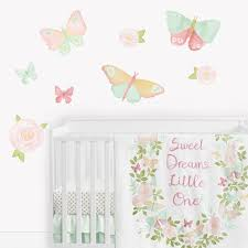Butterfly Floral Rose Large Peel And Stick Wall Decal Stickers Art Nursery Decor Mural By Sweet