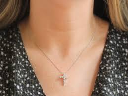 small diamond cross pendant necklace