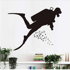 Amazon Com Smydp Underwater Sports Silhouette Wall Decal Diver Diving Scuba Wall Stickers Diy Vinyl Adhesive Removable Home Decor Kids Room 72cm X 58cm Baby