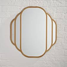 gold rounded edges art deco wall mirror