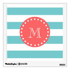 Blue And White Stripe Wall Decals Stickers Zazzle