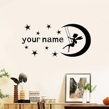 Custom Girls Baby Name Decal Wall Stickers For Baby Nursery Room Angel Wall Decor Moon Stars Sticker For Kids Rooms Wall Stickers Aliexpress