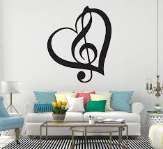 Amazon Com Clef Heart Wall Decal Musical Symbol With Love Vinyl Art Pitch Of Written Notes Bedroom Living Any Room Home Decoration Cg268 18 Width X 22 Height Home Kitchen