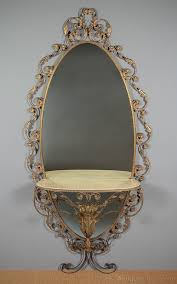 gilt metal frame mirror console table