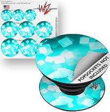 Amazon Com Decal Style Vinyl Skin Wrap 3 Pack For Popsockets Bokeh Squared Neon Teal Popsocket Not Included By Wraptorskinz Everything Else