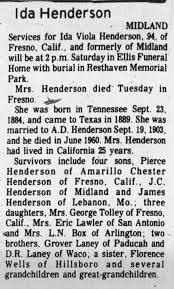 Obituary for Ida Viola Henderson (Aged 94) - Newspapers.com