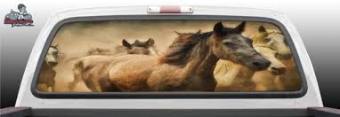 Horse Horses Running Stampede Glass Rear Window Decal Graphic Truck Perf Vinyl Perforated
