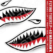 Amazon Com Flying Tigers Decals Shark Teeth Stickers 12 Inches 1 Pair Arts Crafts Sewing