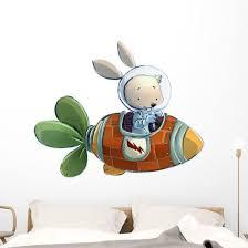 Space Rabbit Rocket Ship Wall Decal Wallmonkeys Com