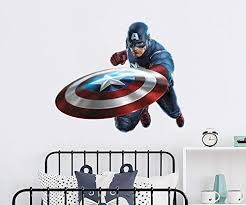 Amazon Com Captain America Wall Decal Superhero Vinyl Stickers Captain America Wall Mural Captain America Nursery Bedroom Decor Ps122 Handmade