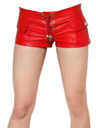 stretch nappa leather shorts in red