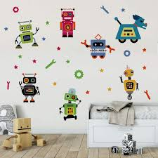 Amazon Com Runtoo Robots Wall Decals Educational Wall Art Stickers For Classroom Kids Boys Bedroom Wall Decor Arts Crafts Sewing