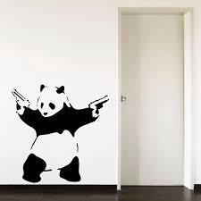 Banksy Panda Pandamonium Living Room Bedroom Hallway Portrait Home Window Decal Removable Vinyl Wall Art Decal Sticker B058 Decal Sticker Vinyl Wall Art Decalsvinyl Wall Aliexpress