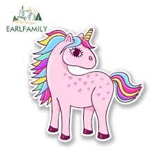 Earlfamily 13cm X 12cm Funny Pretty Pink Unicorn Vinyl Decal Laptop Travel Luggage Waterproof Car Styling Animal Car Stickers Car Stickers Aliexpress
