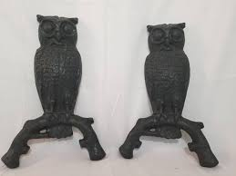 owl andirons cast iron owls antique