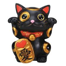 Black Maneki Neko Beckoning Cat Lucky Money Japanese Figurine Walmart Com Walmart Com