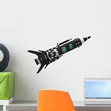 Amazon Com Wallmonkeys Black Spaceship Wall Decal Peel And Stick Decals For Boys 18 In W X 11 In H Wm491812 Home Kitchen