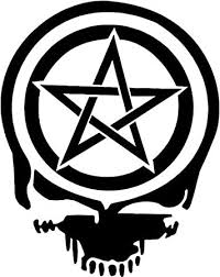 Amazon Com Pentacle Wiccan Pagan Skull Vinyl Decal Sticker 10 Tall Gloss White Color Automotive