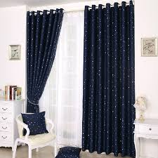 Kids Beautiful Dark Blue Curtains With Patterns Of Stars