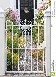 White Wrought Iron Garden Door Dublin Ireland Stock Photo Image Of Colourful Europe 75958236