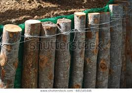 Fence Made Timber Tie Wire Stock Photo Edit Now 681545446