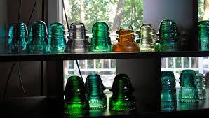 glass insulators from telephone poles