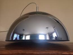 vintage chrome half dome pendant lamps