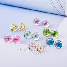 com pressed real flower earring