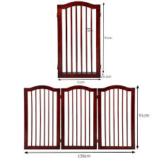 3 Panels Tall Height Folding Pet Gate Gog Child Safety Fence Free Standing Indoor Wood Pine Animals Pet Supplies
