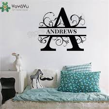 Letter Wall Sticker Design Name Wall Decoration Family Decor Kidsroom Monogram Decals Beauty Fashion Ornament Decor Lx56 Wall Stickers Aliexpress