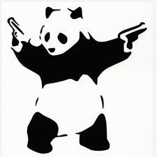 Banksy Panda With Guns Vinyl Decal 4 X4 Panda Bear Wielding Pistols Ps 20 Ebay