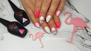 Recznie Malowane Zdobienie Flamingi Na Hybrydzie Lakierami Provocater