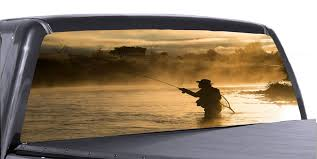 Gone Fishing 2 Universal Truck Rear Window 50 50 Perforated Vinyl Deca Roe Graphics And Apparel